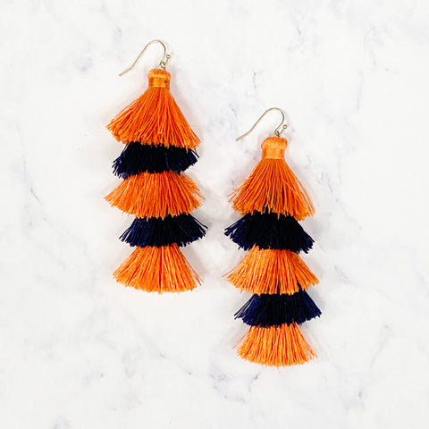 Five Layer Tassel Earrings - Navy/Orange