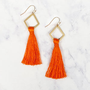 Diamond Tassel Earrings - Orange