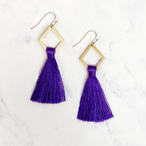 Diamond Tassel Earrings - Purple