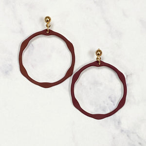 Small Hexagon Drop Hoops - Maroon