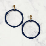 Small Hexagon Drop Hoops - Navy