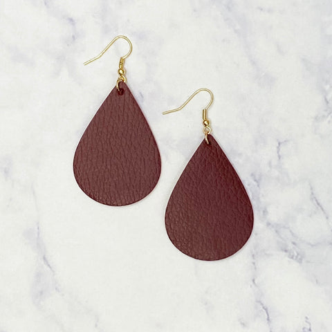 Leather Tear Drop Earrings - Garnet