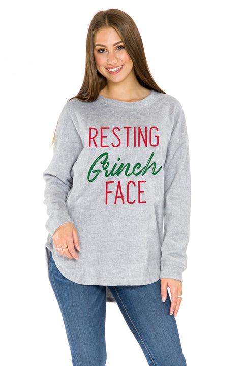 Resting Grinch Face Sherpa Pullover