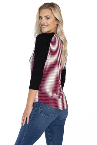 South Carolina Gamecocks Leah Striped Baseball Tee