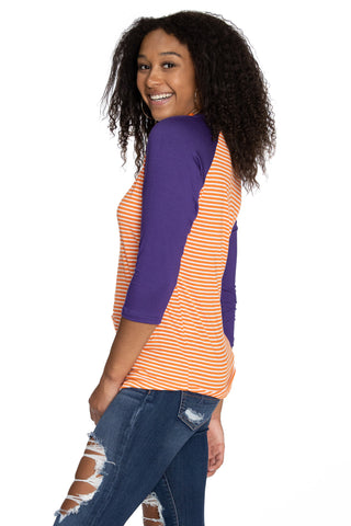 Clemson Tigers Leah Striped Baseball Tee