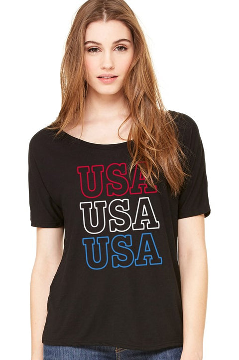 Stacked USA Slouchy Tee