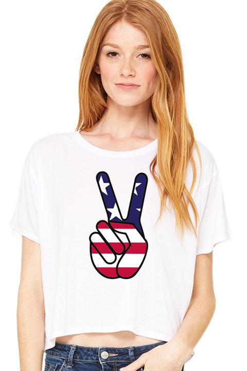 USA Peace Sign Flowy Cropped Boxy Tee