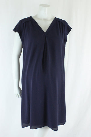 Navy Short Sleeve Shift Dress Size M