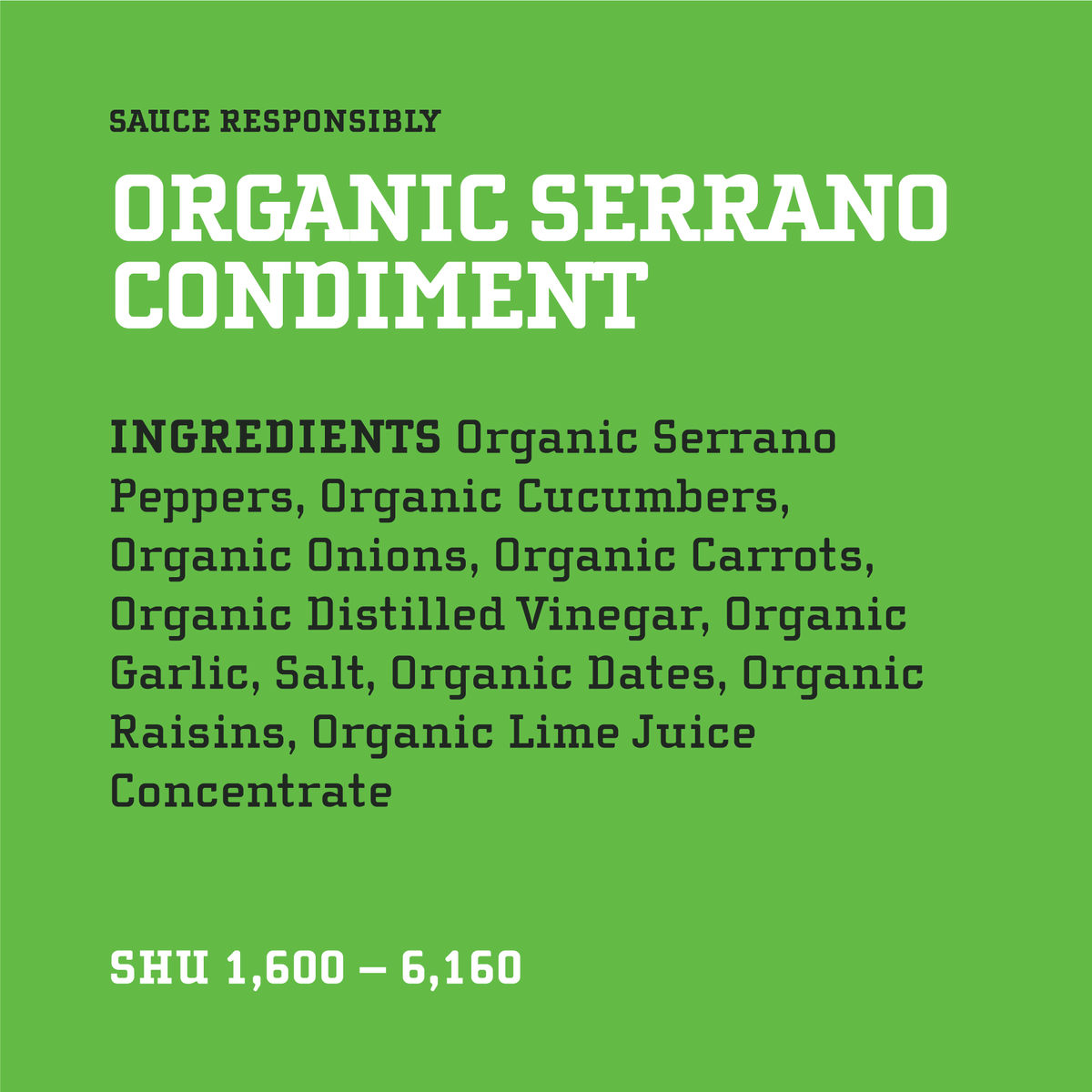 Yellowbird Organic Serrano Hot Sauce Ingredients