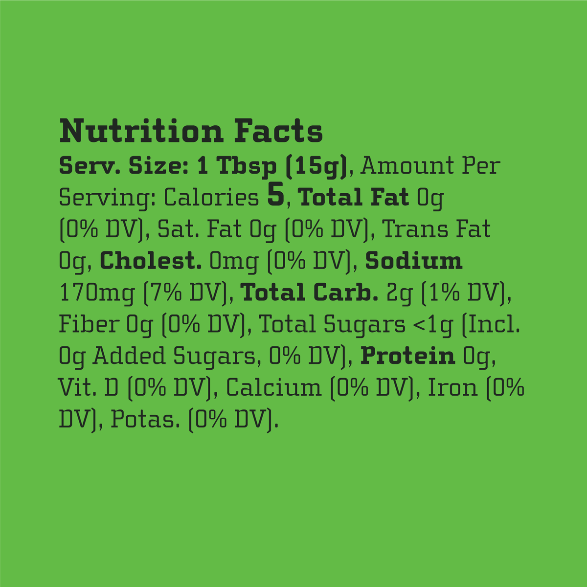Yellowbird Organic Serrano Hot Sauce Nutrition Facts