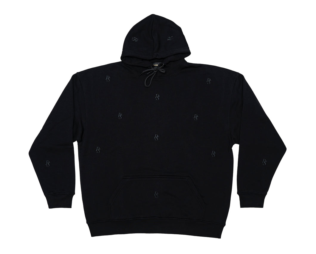 Relaxed Hoodie Black Overall DS embroideries