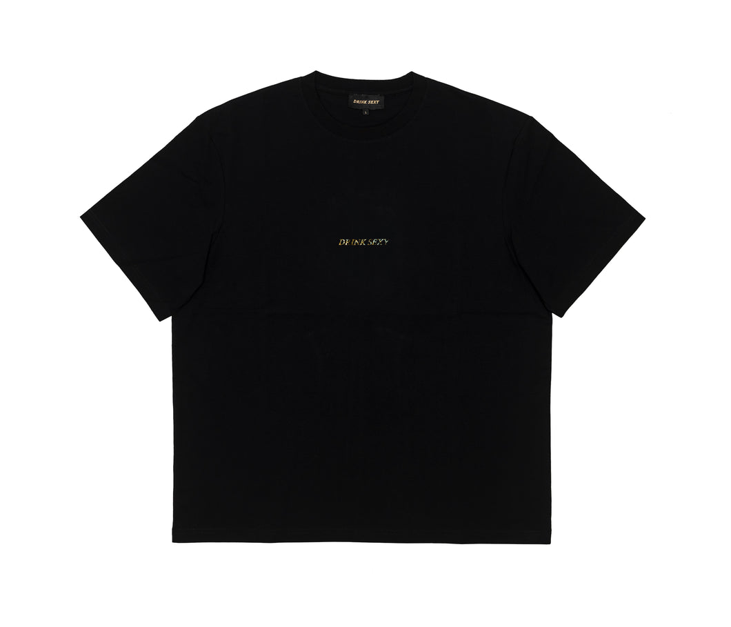 Black T-shirt ''Golden Diamond Shiny Print''