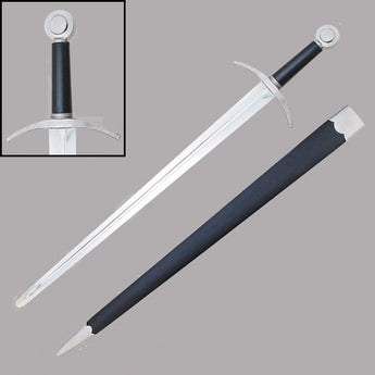Hand-And-A-Half Sword With Leather Scabbard - knifeblade-store