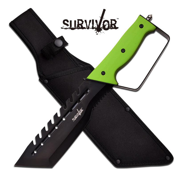 Survivor Fixed Blade Knife With Green Handle And Nylon Sheath - knifeblade-store