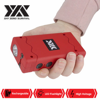 DZS Rechargeable Red Stun Gun with Safety Disable Pin LED Flashlight - knifeblade-store