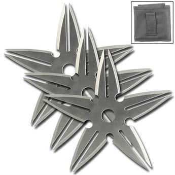 3 Pcs Spinning Moon Throwing Stars - Silver 4 Inch Diameter - knifeblade-store
