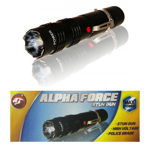 ALPHA FORCE Stun Gun 10 Million Volt Rechargeable LED Flashlight Black - knifeblade-store