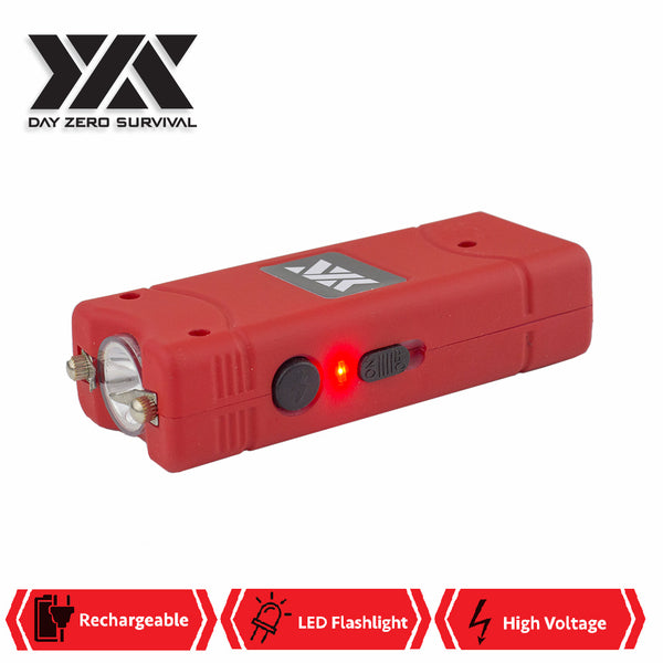 DZS Ultra Mini Red Stun Gun Rechargeable With LED Light, Holster and KeyRing - knifeblade-store