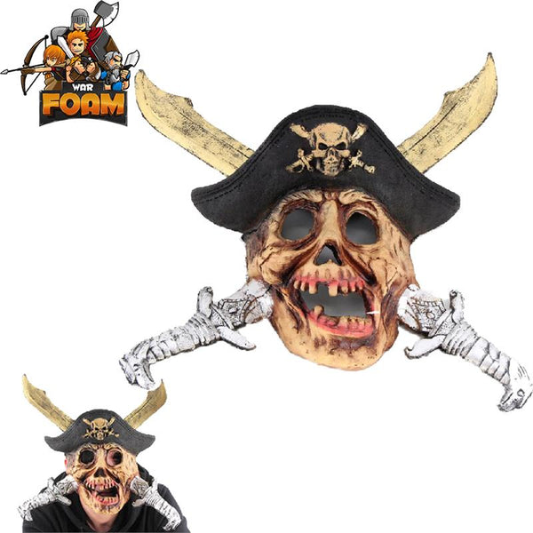Pirate Treasure Skull Crossed Swords Hat Mask For Cosplay Halloween Masquerade - knifeblade-store