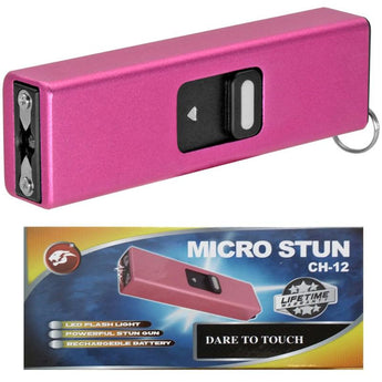Micro USB Self Defense Pink Stun Gun Rechargeable LED Light Keychain - knifeblade-store