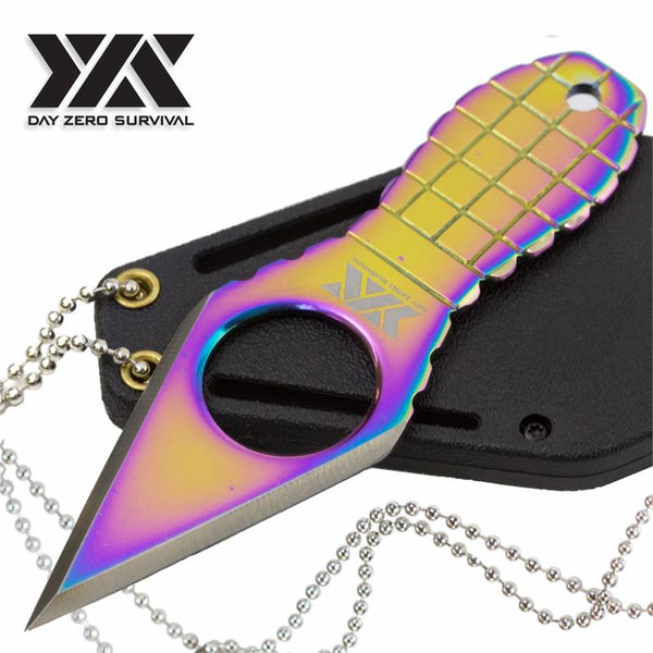 Day Zero Survival Fixed Blade Neck Knife Titanium Rainbow Grenade Handle - knifeblade-store