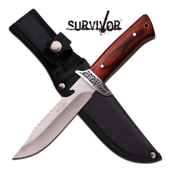 Fixed Blade Wood Handle Rear Serrations Hunting Knife - knifeblade-store