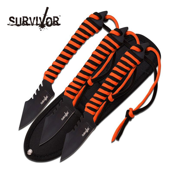 "Survivor 7.5"" 3 Fixed Blades with Orange and Black Paracord - knifeblade-store"