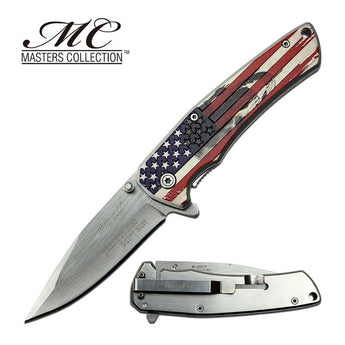 American Flag Skull These Colors Don't Run Blade Spring Assisted Knife - knifeblade-store