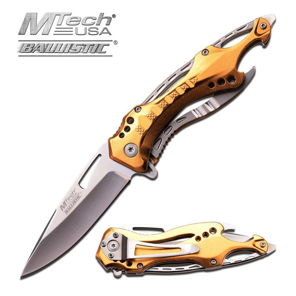 MTech USA Tactical Spring Assisted Knife 4.5 Inches With Gold Handle - knifeblade-store