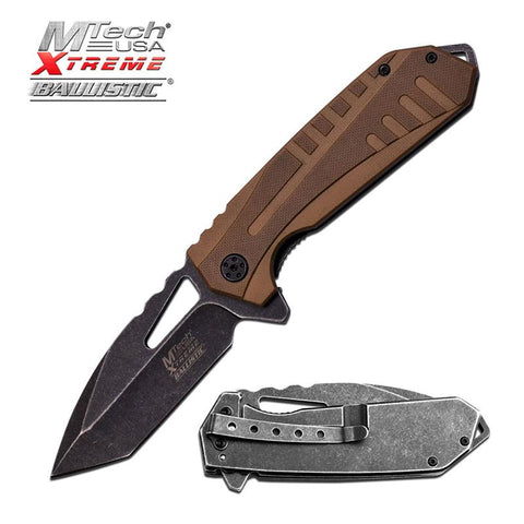 MTech Tactical Spring Assist Folding Knife Desert Tan Tanto EDC - knifeblade-store