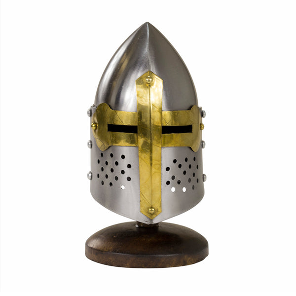 Miniature 14th Century Gilded Sugar Loaf Visored Display Helmet With Stand - knifeblade-store
