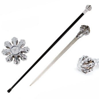 Silver Crown Knob Walking Cane Sword - knifeblade-store