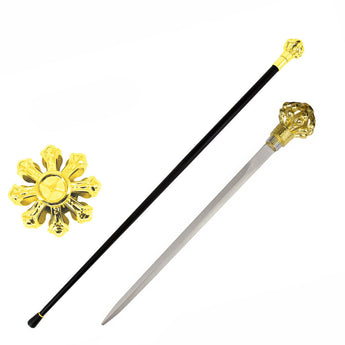 Golden Crown Knob Walking Cane Sword - knifeblade-store