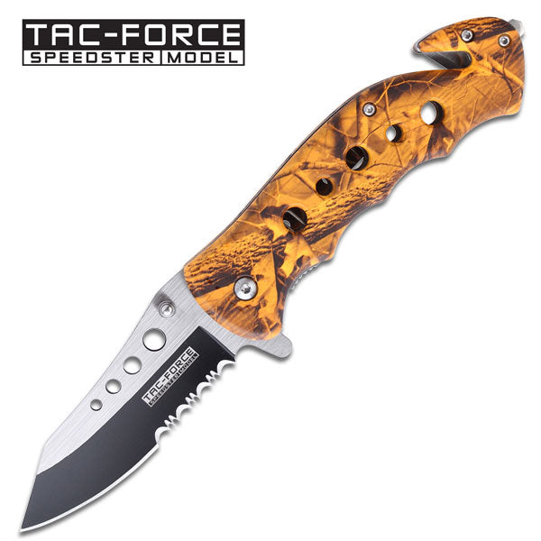 Spring Assist - 'Legal Automatic' Knife - Orange Camo Handle - knifeblade-store