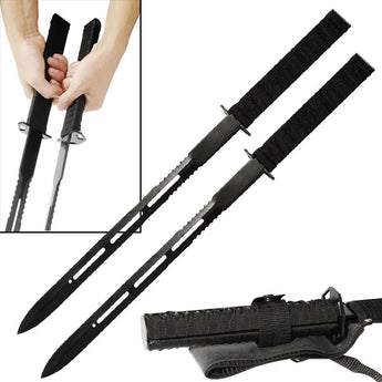 2 Pc Magnetic Twin Ninja Fighting Sword Set - knifeblade-store