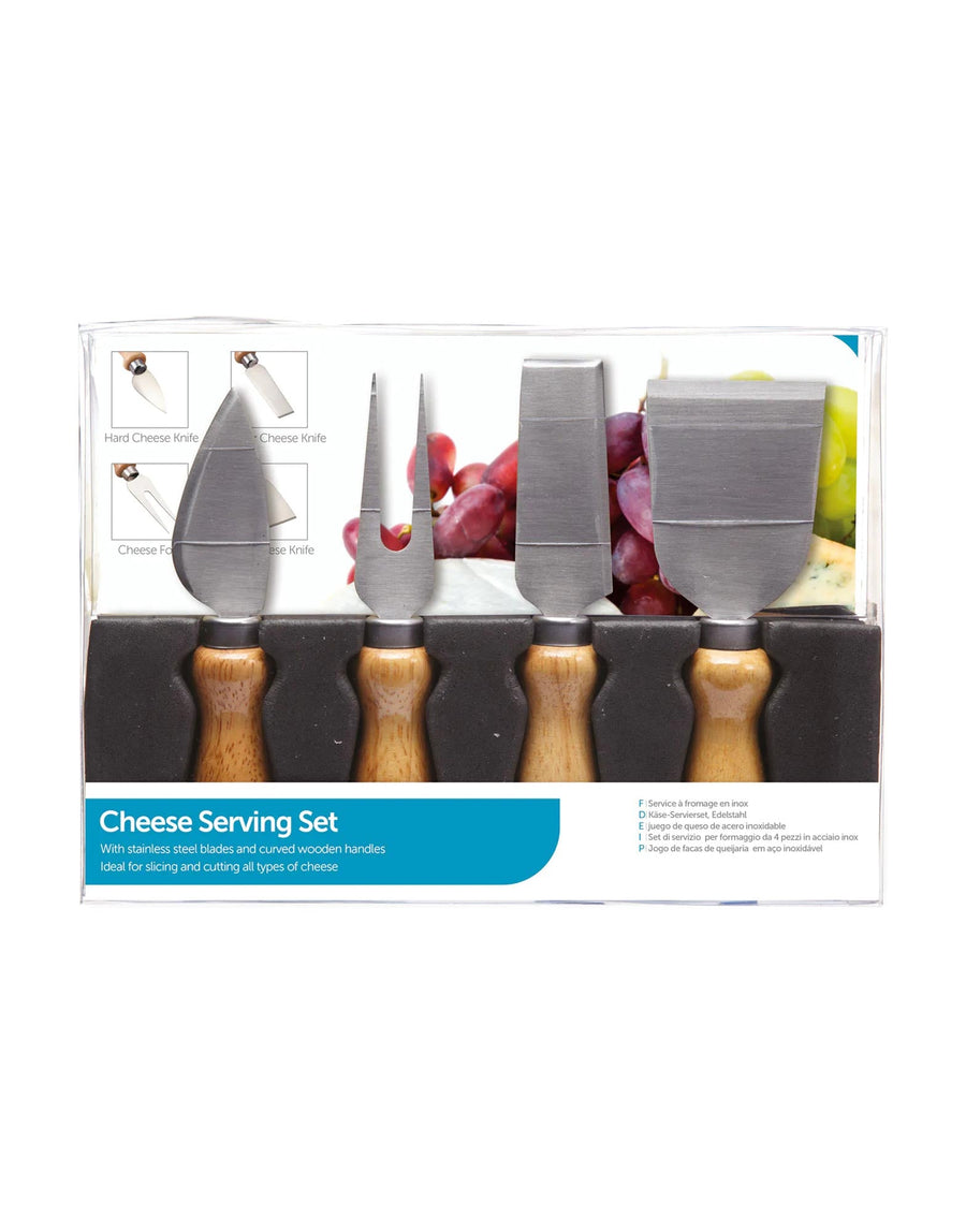 4 Piece Cheese Kit with 3 Knives and 1 Fork Server
