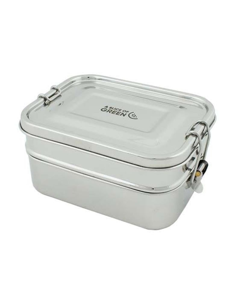 A Slice of Green Steel Leak Proof Lunch Box Two Tier 1.3L