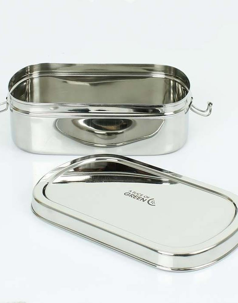 A Slice of Green Steel Oval Lunch Box 1.75L