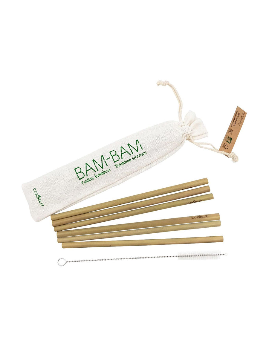 Cookut Bam Bam Bamboo Straws set of 6 with cleaning brush