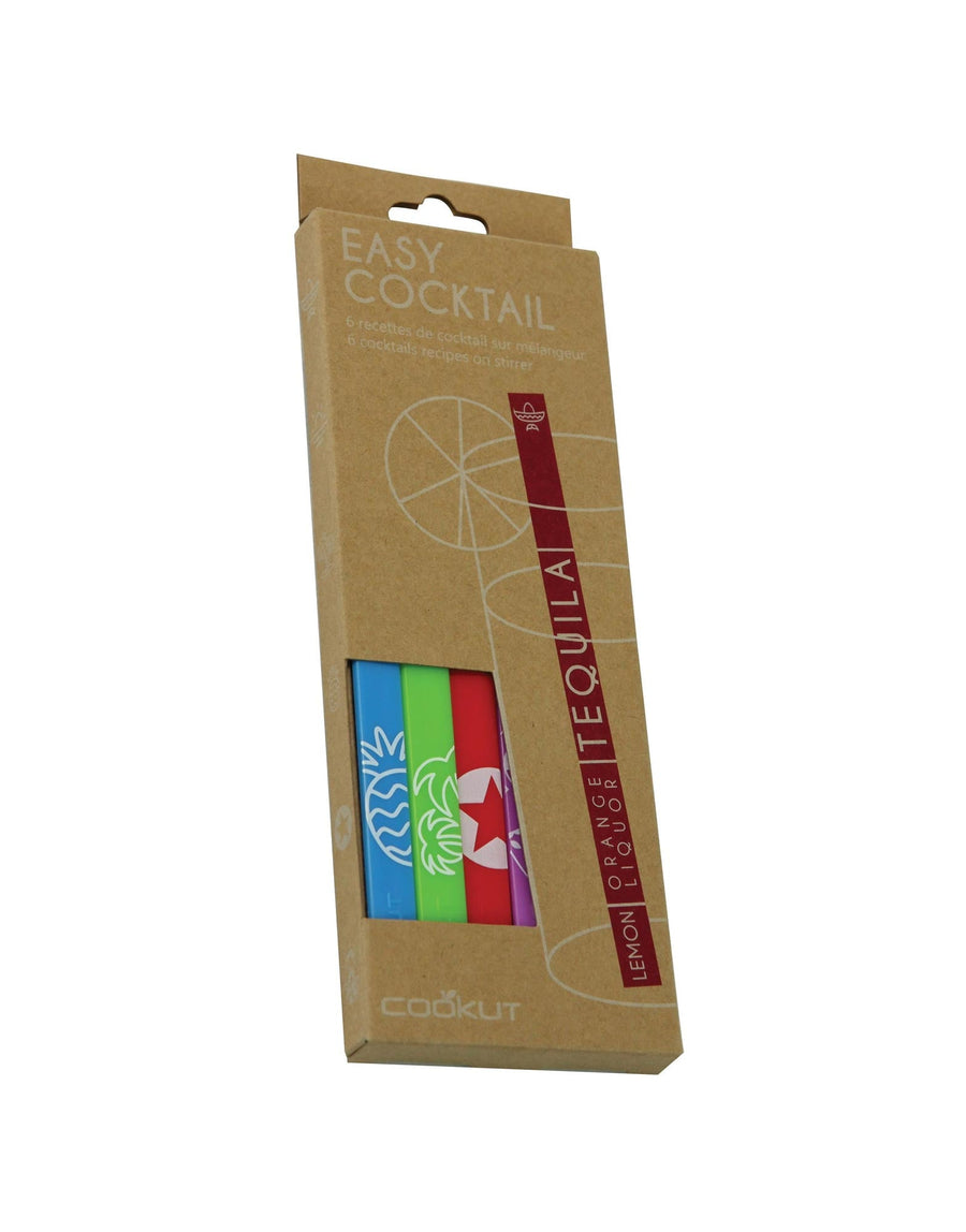 Cookut Easy Cocktail set of 6  cocktail recipes on stirrer