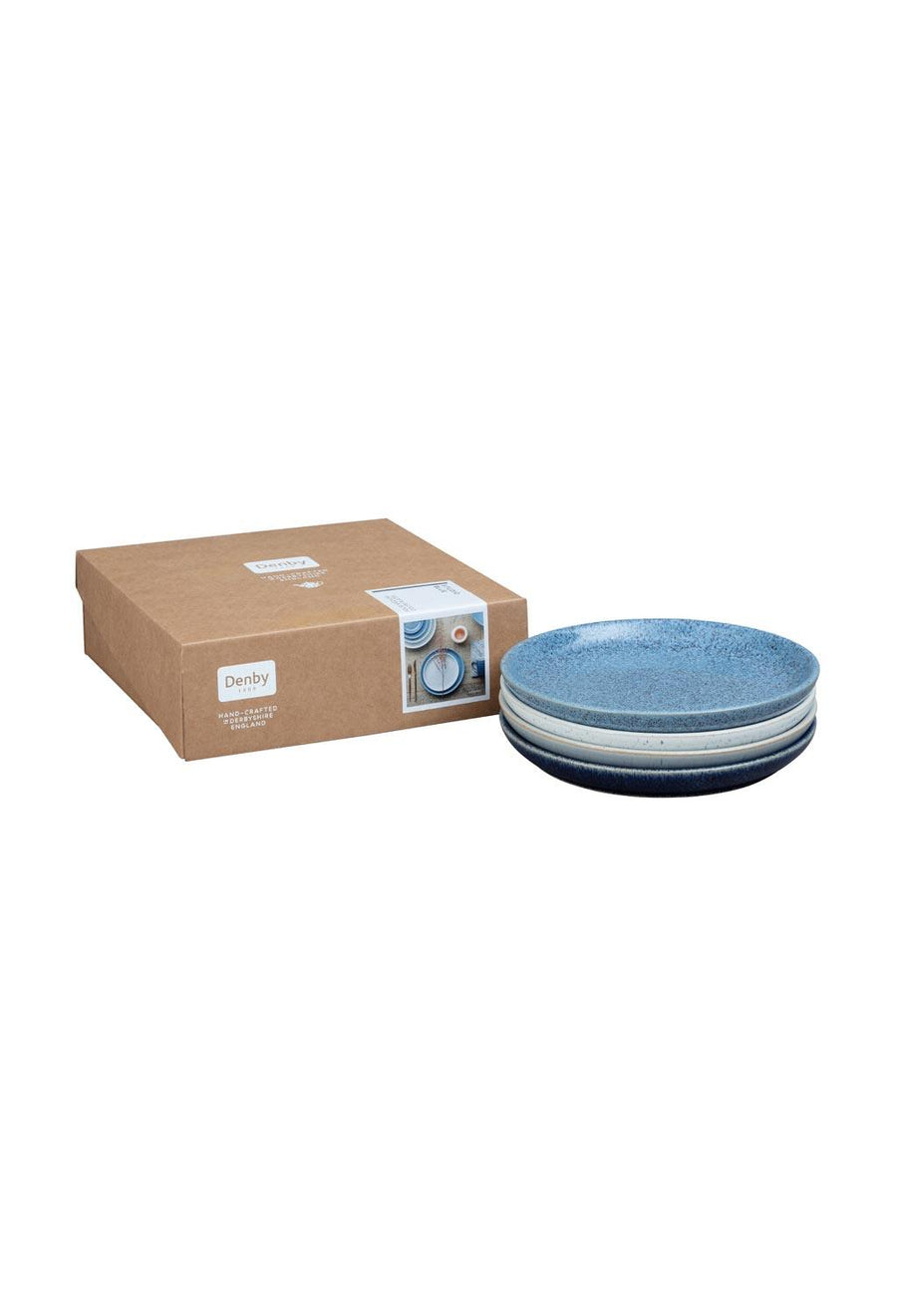 Denby Studio Blue 4 Piece Medium Coupe Plate Set