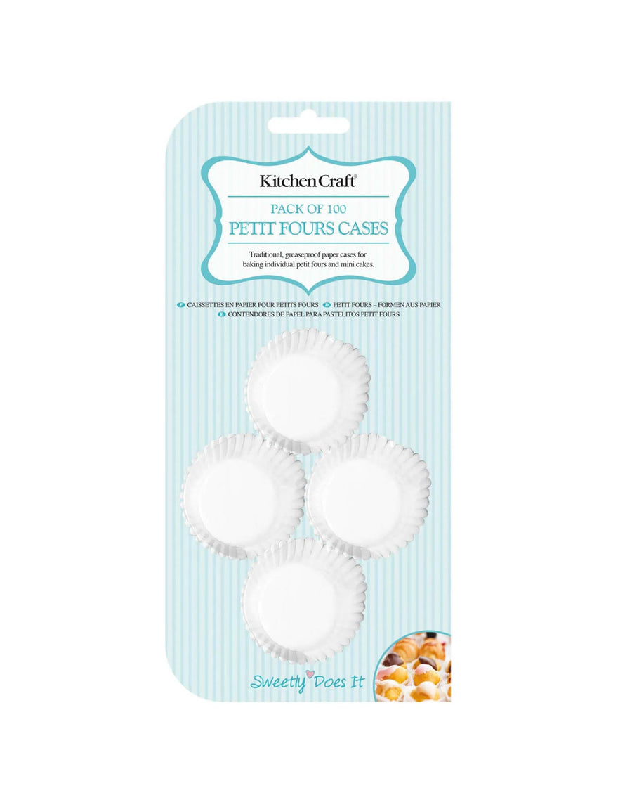 Fluted White Paper Petit Fours Cases 4cm 100 Pack