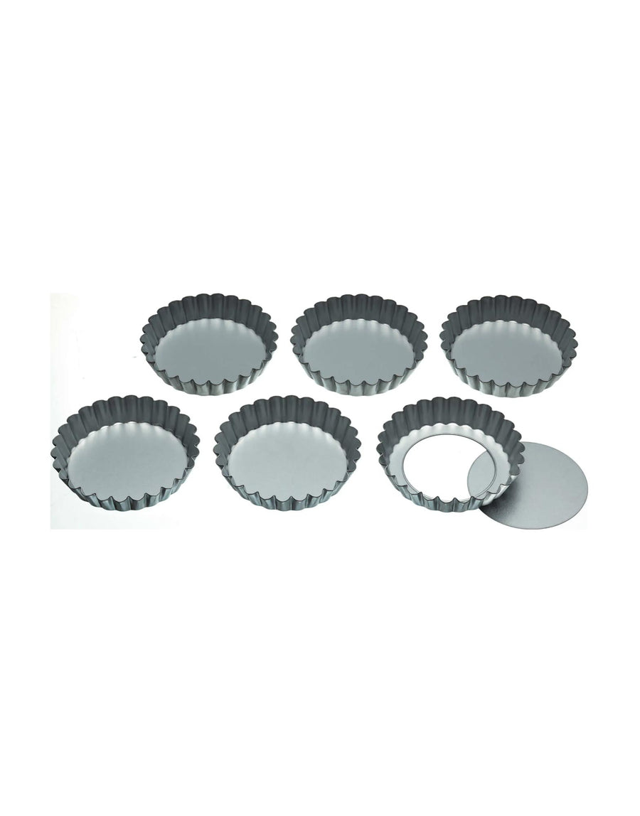 Loose-Bottom Tart Tins 10cm, Set of Six