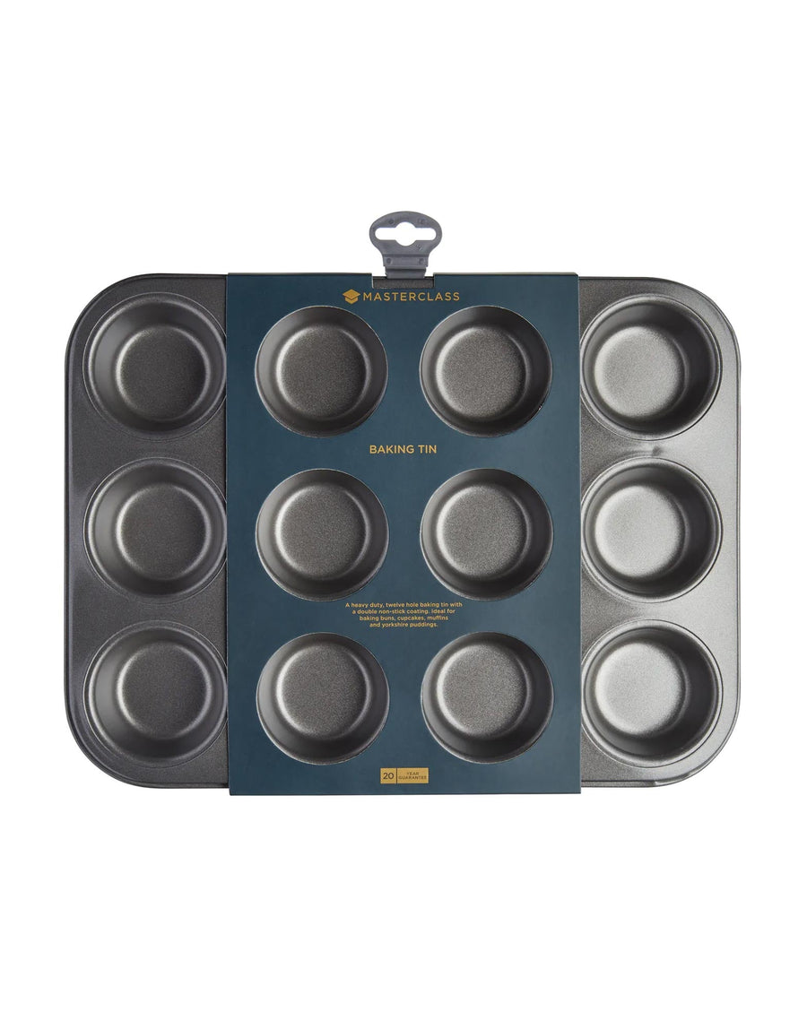 MasterClass Non-Stick Twelve Hole Deep Baking Pan 35cm x 27cm
