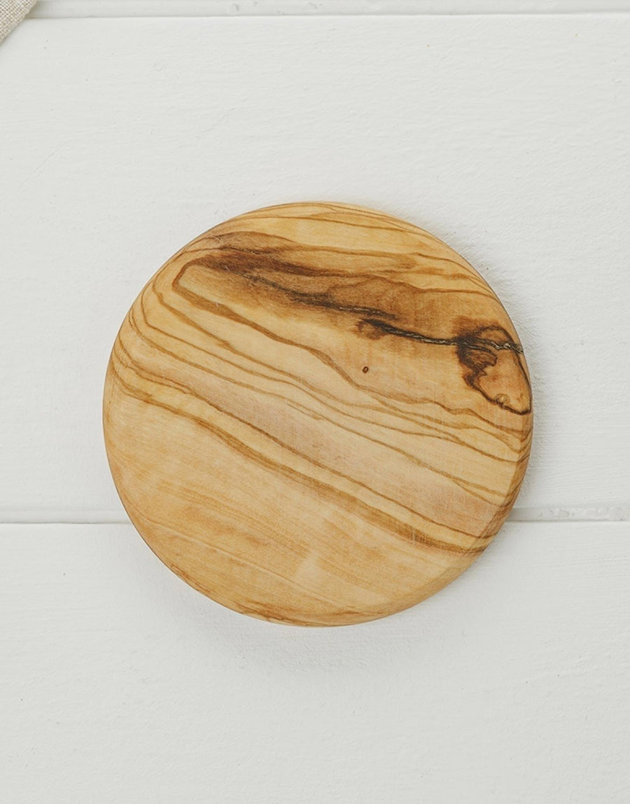 Naturally Med Olive Wood Round Coaster Set