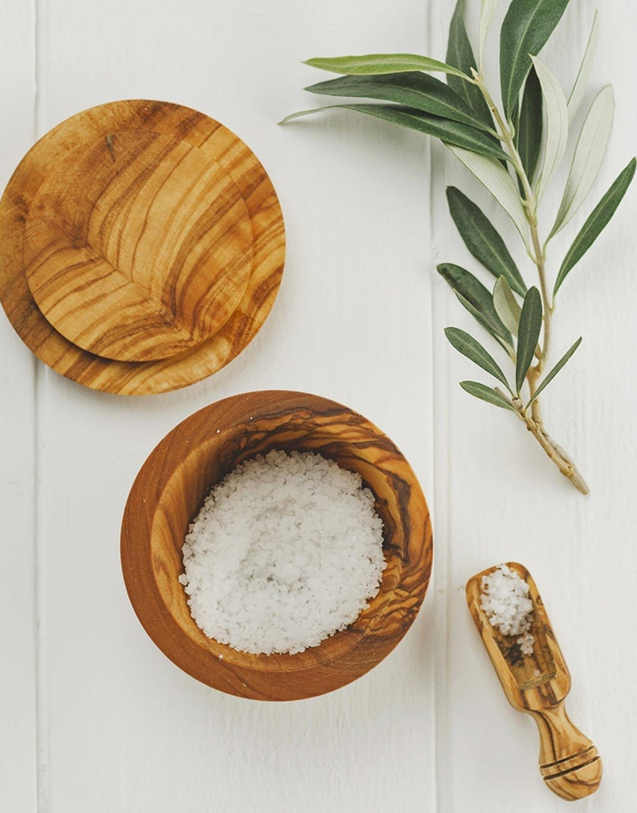 Naturally Med Olive Wood Salt Pot