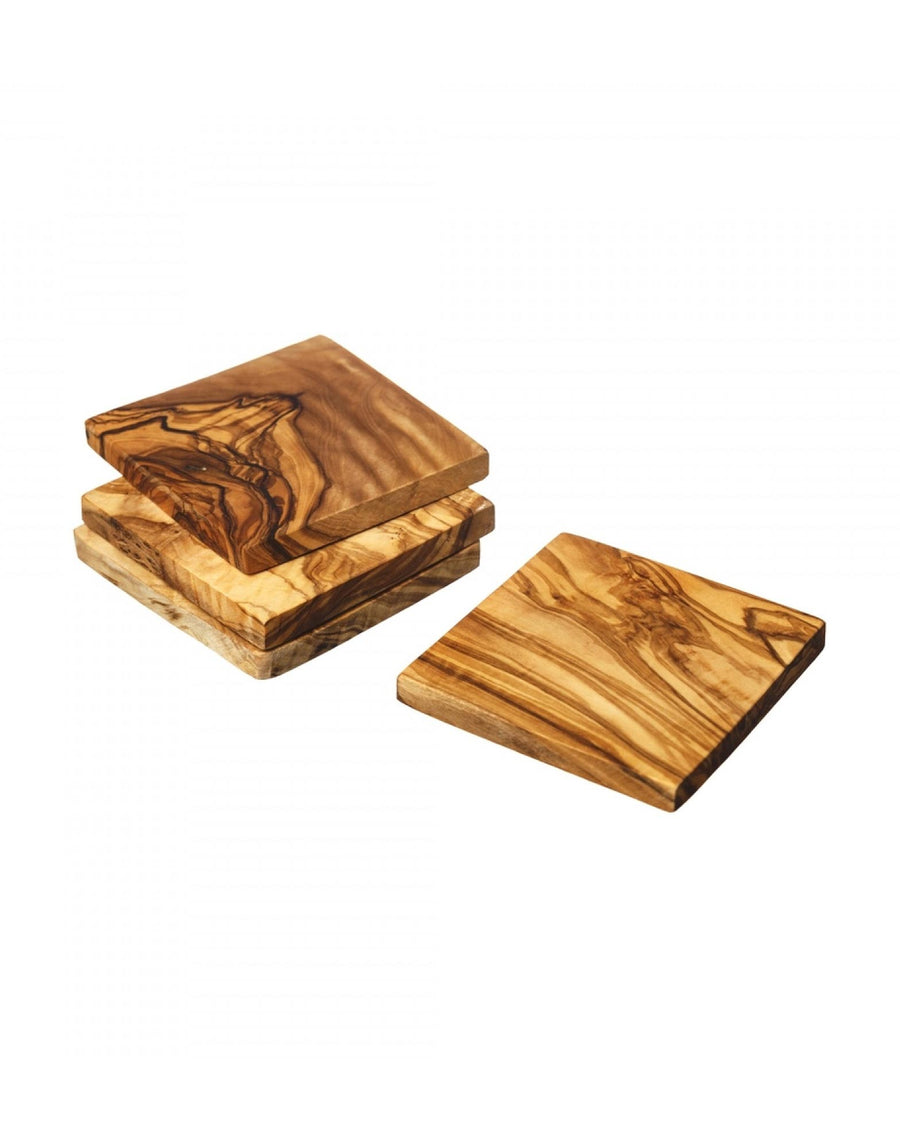 Naturally Med Olive Wood Square Coaster Set