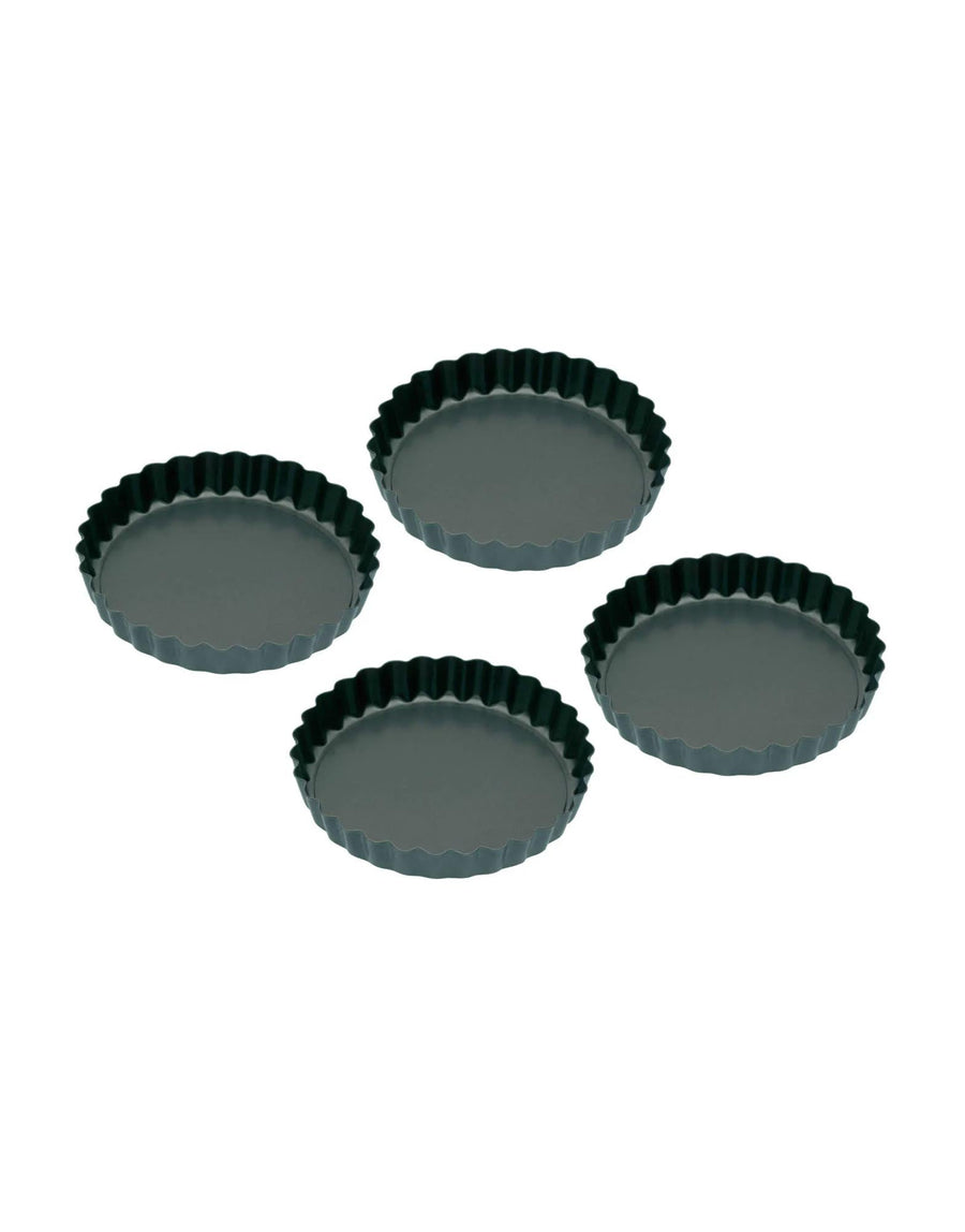 Non-Stick Mini Fluted Flan/Tart Tins, Set of Four