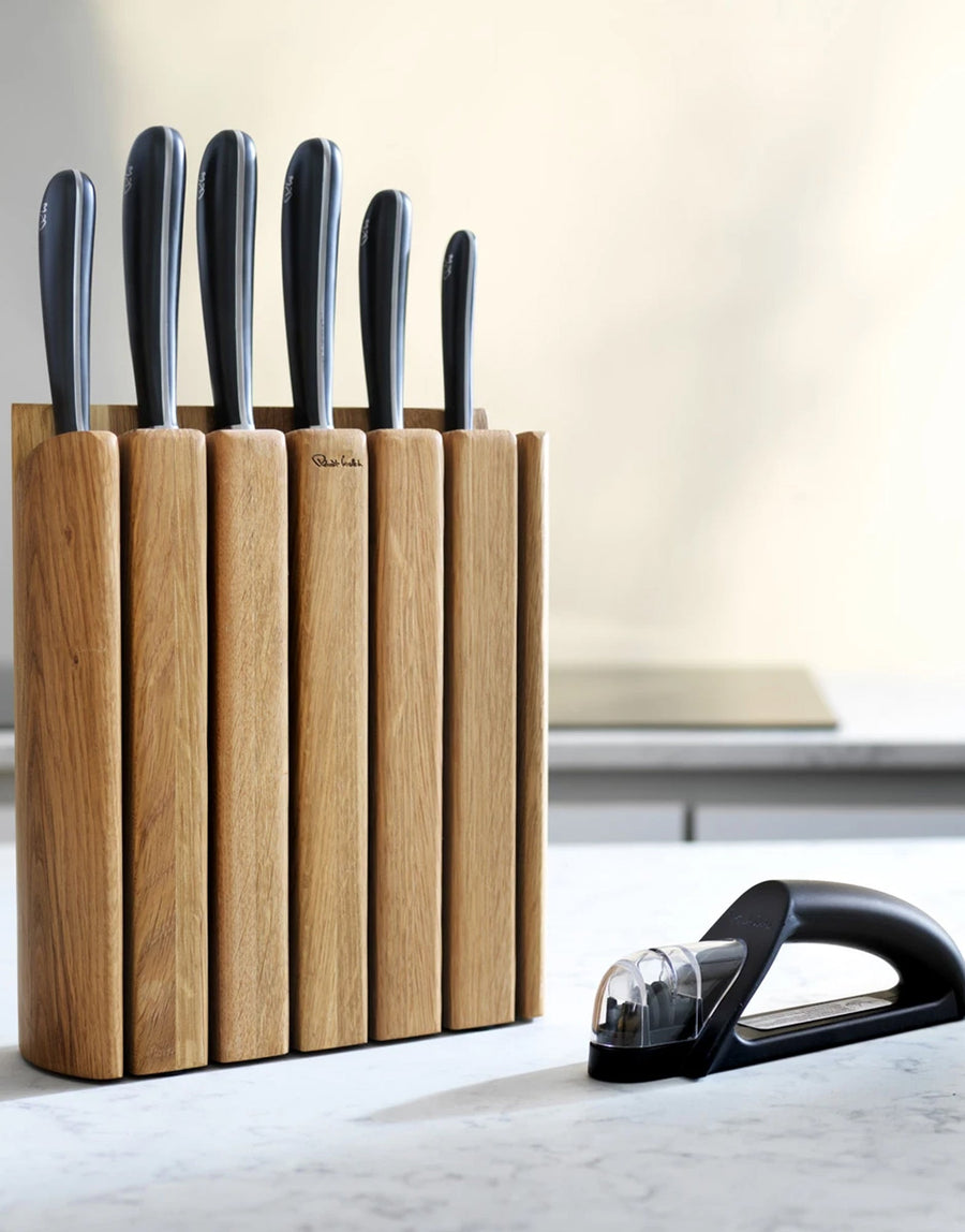 Robert Welch Book Oak Knife Block with free Knife Sharpener