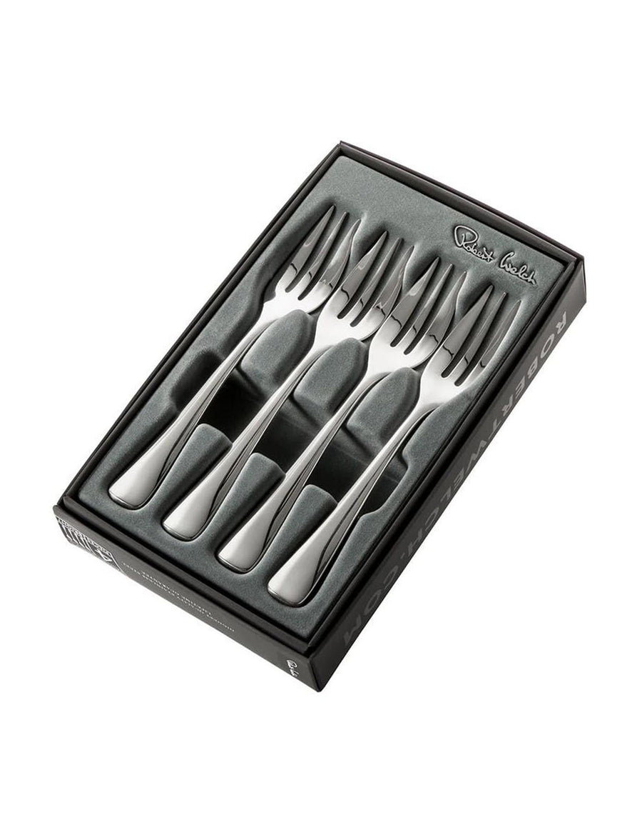 Four Robert Welch Malvern Bright Pastry Forks in a Gift box